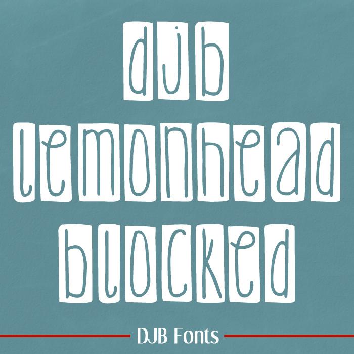 DJB Lemon Head Blocked Font poster