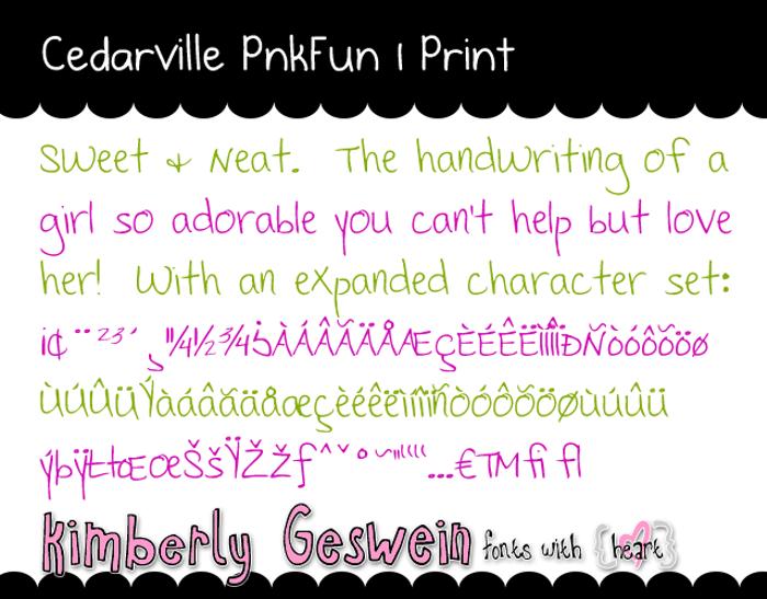 Cedarville Pnkfun 1 Print Font poster