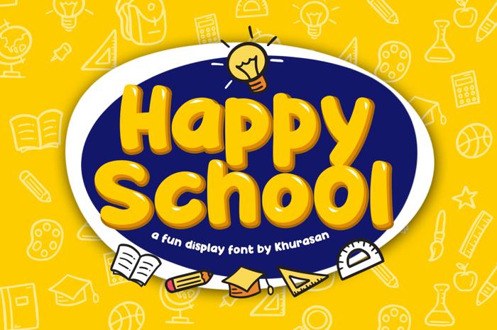 Happy School Font poster