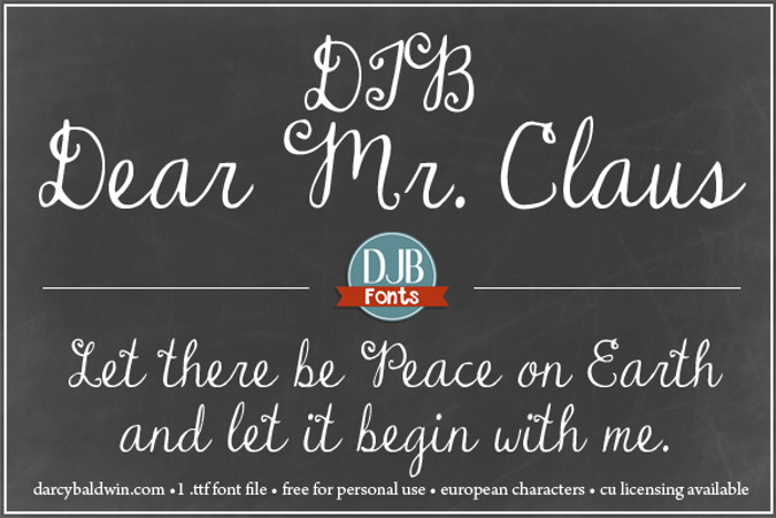 DJB Dear Mr Claus Font poster