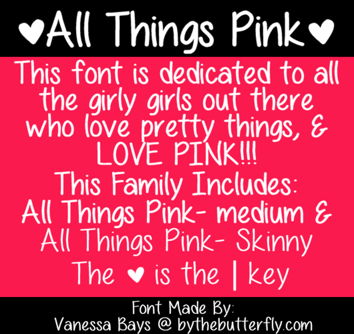 All Things Pink Font poster