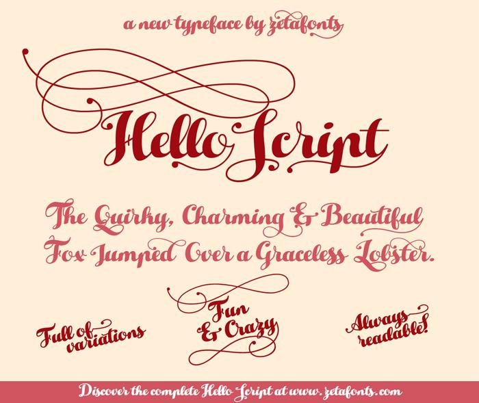 Hello Script Font poster