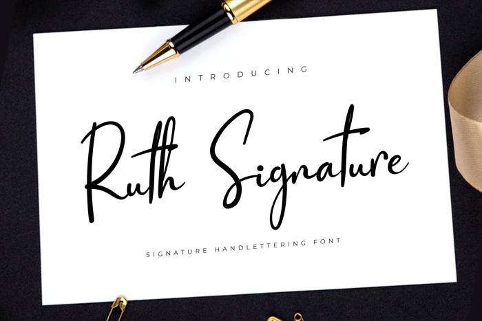 Ruth Signature Font poster