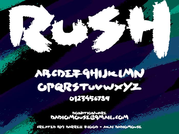Rush Font poster