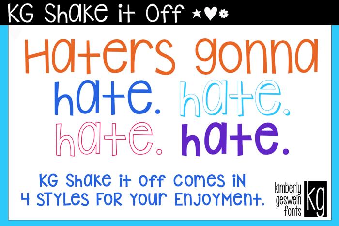 KG Shake it Off Font poster