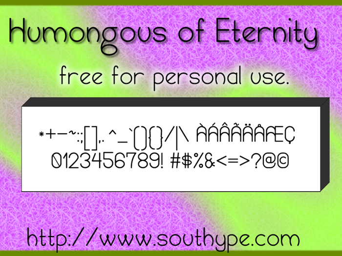 Humongous of Eternity St Font poster
