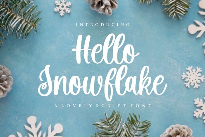 Hello Snowflake Font poster