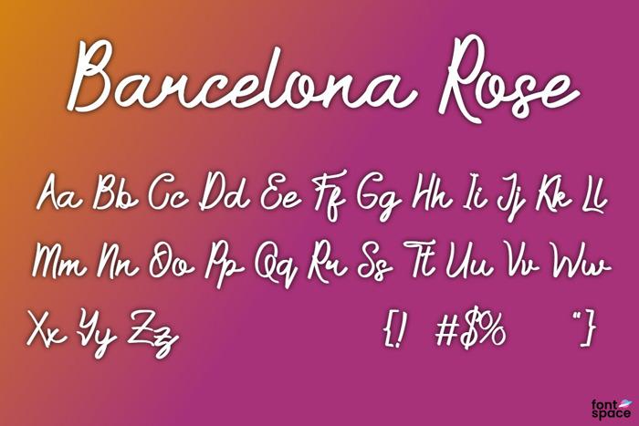 Barcelona Rose Font poster
