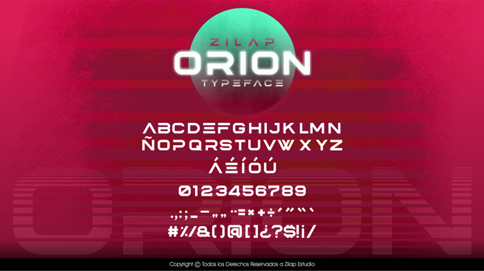 Zilap Orion Font poster
