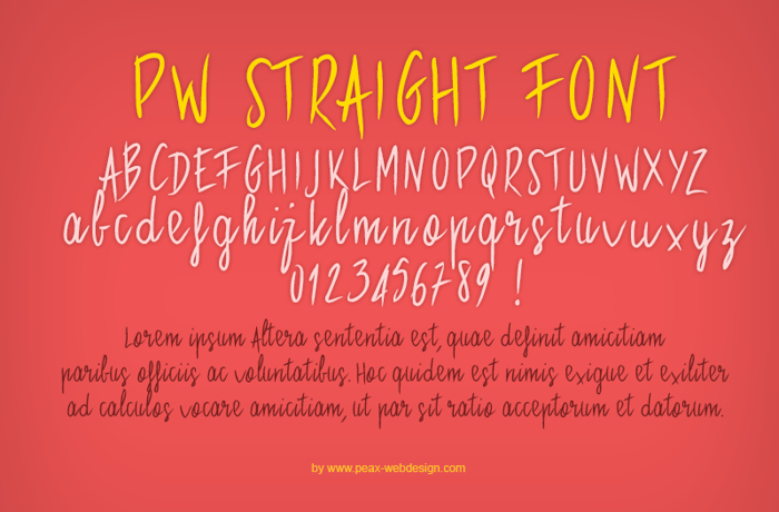 PWStraight Font poster