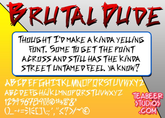 Brutal Dude Font poster