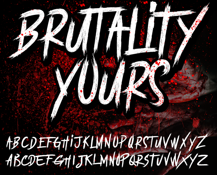 BRUTALItY YOURS  DEMO Font poster
