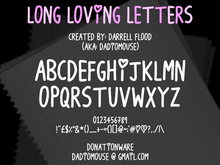 Long Loving Letters Font poster