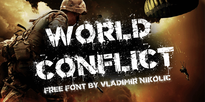 World Conflict Font poster