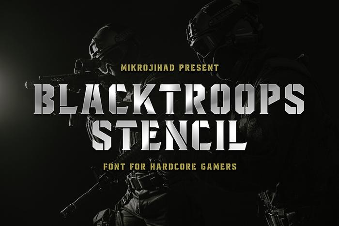 Blacktroops Stencil Font poster