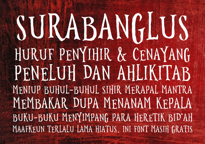 Surabanglus Font poster