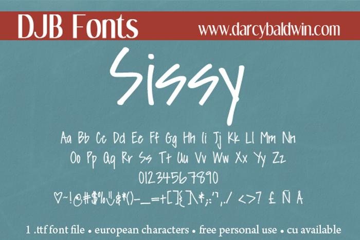 DJB Sissy Font poster