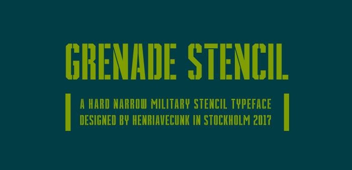Grenade Stencil Font poster
