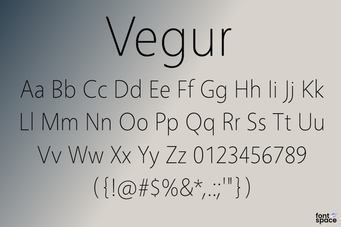 Vegur Font poster