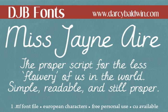 DJB Miss Jayne Aire Font poster