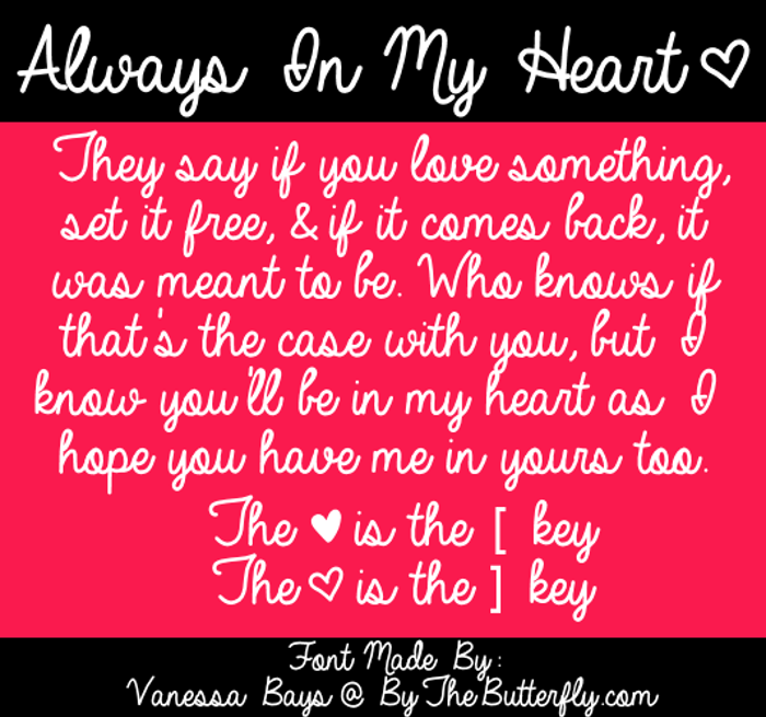 Always In My Heart Font poster