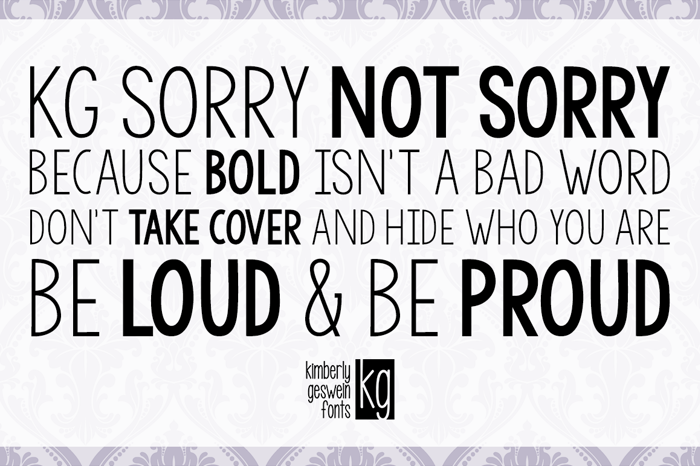 KG Sorry Not Sorry Font poster