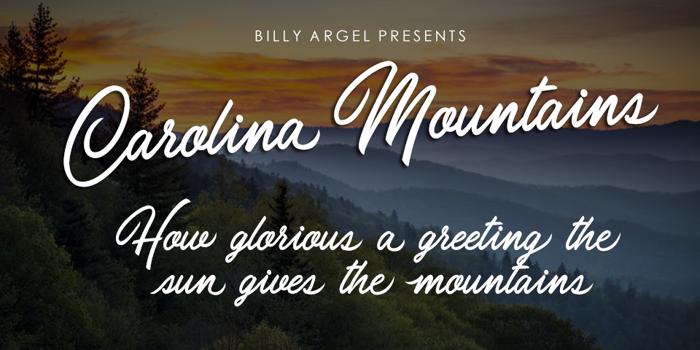 Carolina Mountains Font poster