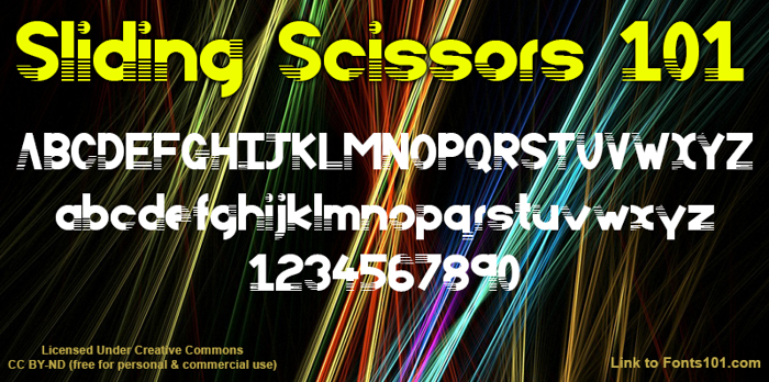 Sliding Scissors 101 Font poster