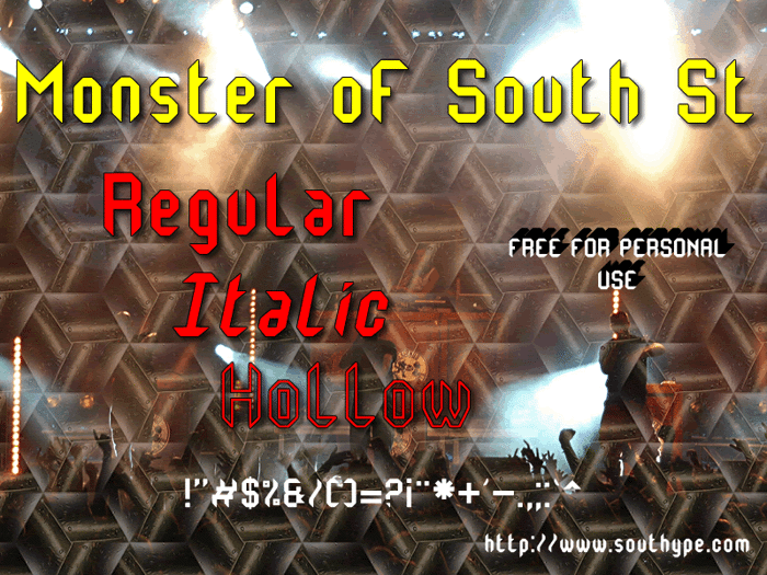 Monster oF South St Font poster