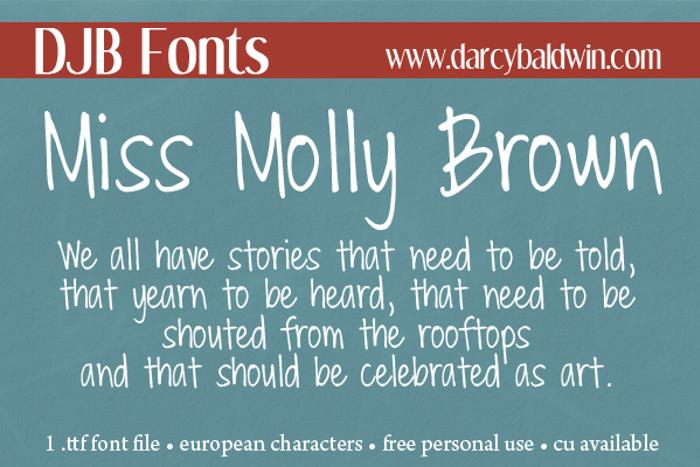DJB Miss Molly Brown Font poster