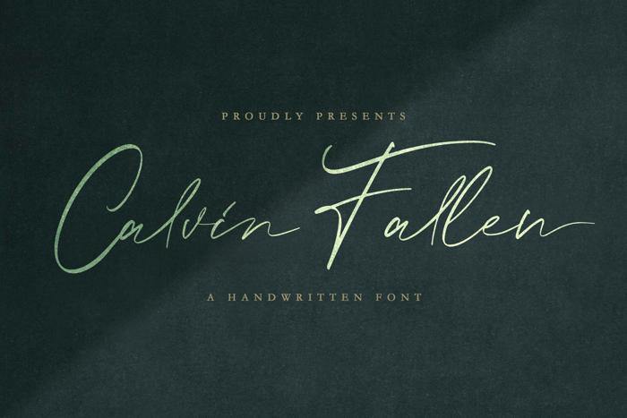 Calvin Fallen Font poster