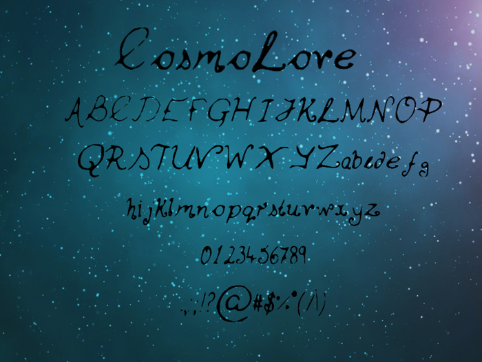 Cosmo_Love Font poster