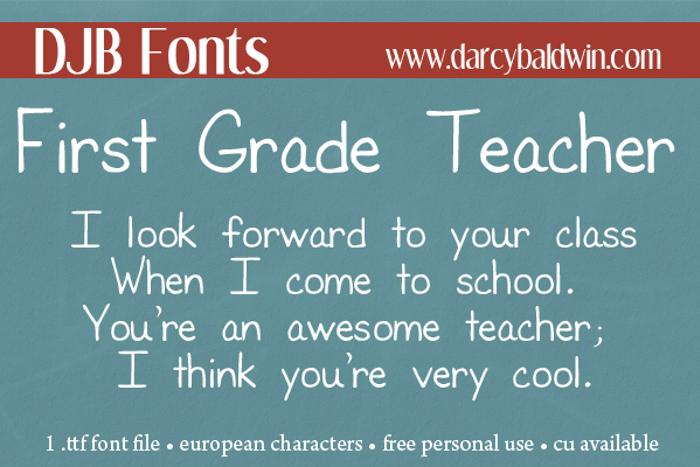 DJB First Grade Teacher Font poster