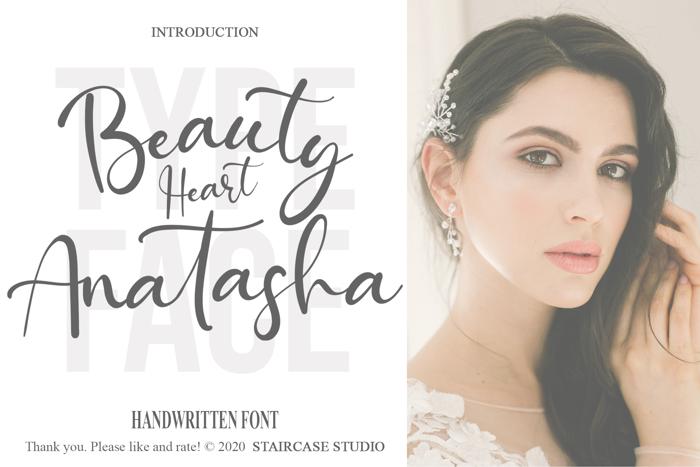 Beauty Heart Anatasha Font poster