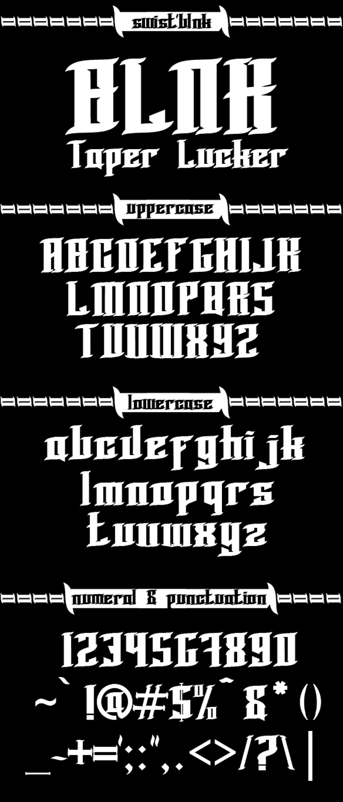 BLNK Taper Lucker Font poster