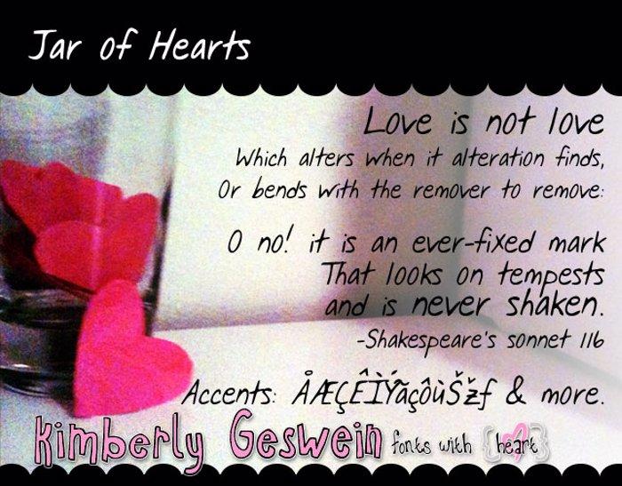 Jar of Hearts Font poster