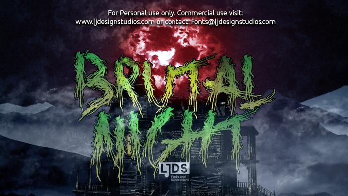 Brutal Night Font poster