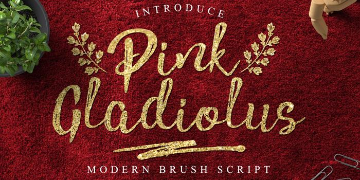 Pink Gladiolus Font poster