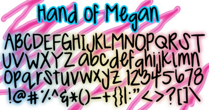 MeganHand Font poster