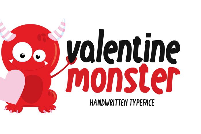Valentine Monster Font poster