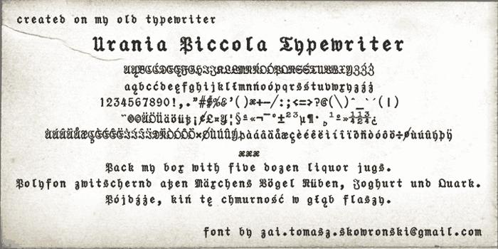 Urania Piccola Typewriter Font poster
