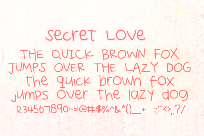 Secret Love Font poster