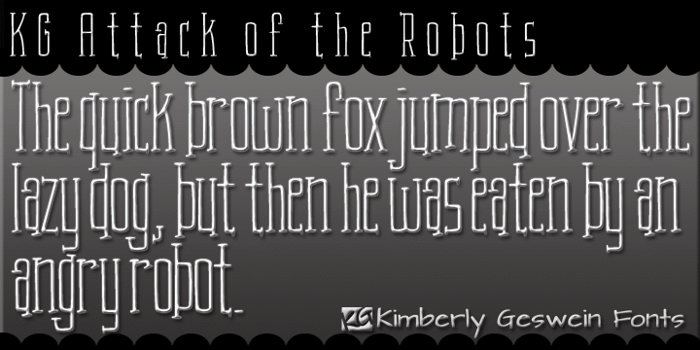 KG Attack of the Robots Font poster