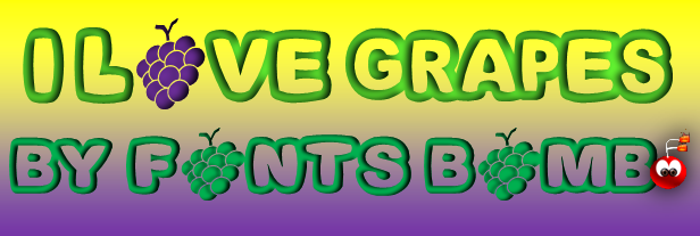 Fonts Bomb I love grapes poster