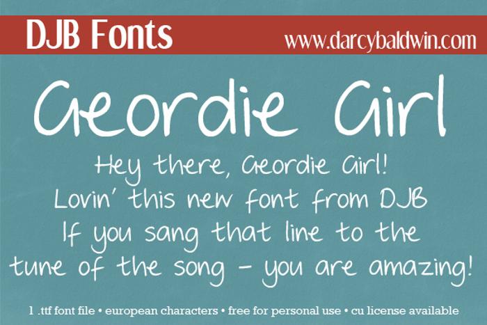 DJB GEORDIE GIRL Font poster