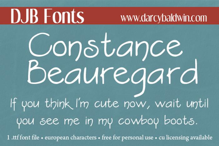 DJB Constance Beauregard Font poster