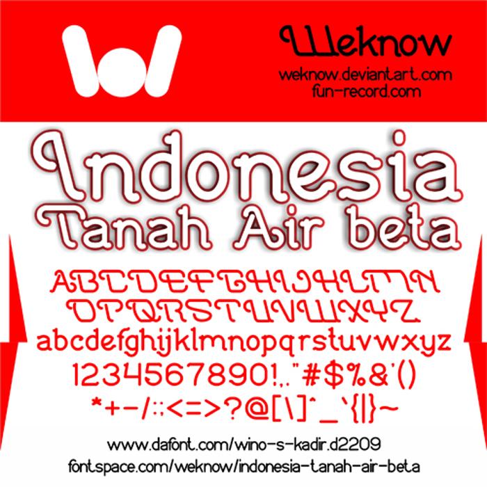 Indonesia Tanah Air Beta Font poster