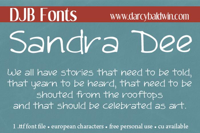 DJB Sandra Dee Font poster