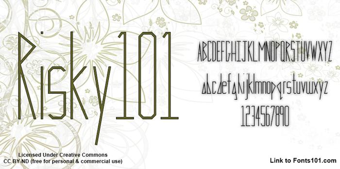 Risky 101 Font poster