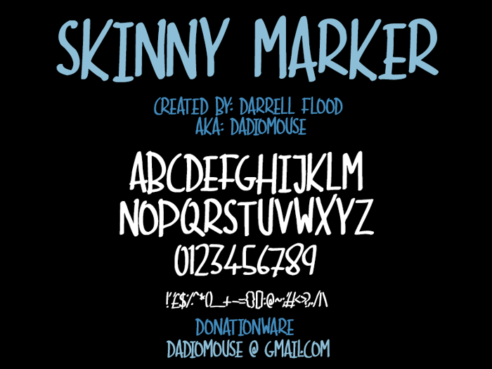 Skinny Marker Font poster